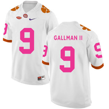 Clemson Tigers 9 Wayne Gallman II White Breast Cancer Awareness College Football Jersey