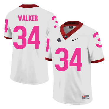 Georgia Bulldogs 34 Herschel Walker White Breast Cancer Awareness College Football Jersey