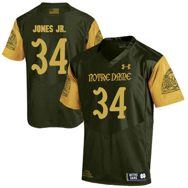 Notre Dame Fighting Irish 34 Tony Jones Jr. Olive Green College Football Jersey