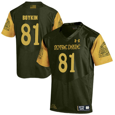 Notre Dame Fighting Irish 81 Miles Boykin Olive Green College Football Jersey