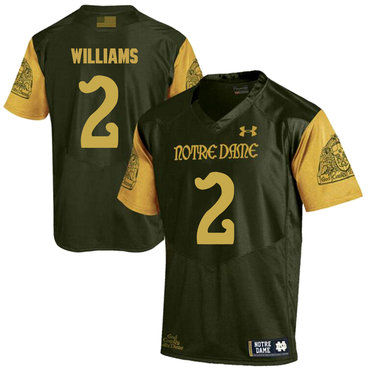Notre Dame Fighting Irish 2 Dexter Williams Olive Green College Football Jersey