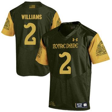 Notre Dame Fighting Irish 2 Dexter Williams Olive Green College Football Jersey