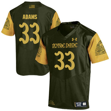 Notre Dame Fighting Irish 33 Josh Adams Olive Green College Football Jersey