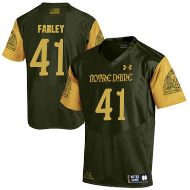 Notre Dame Fighting Irish 41 Matthias Farley Olive Green College Football Jersey