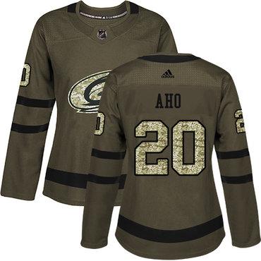 Adidas Carolina Hurricanes #20 Sebastian Aho Green Salute to Service Women's Stitched NHL Jersey