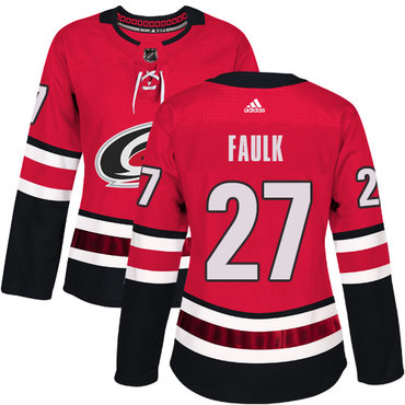 Adidas Carolina Hurricanes #27 Justin Faulk Red Home Authentic Women's Stitched NHL Jersey