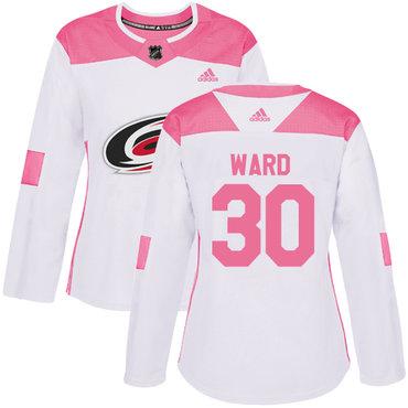 Adidas Carolina Hurricanes #30 Cam Ward White Pink Authentic Fashion Women's Stitched NHL Jersey