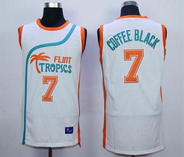 Flint Tropics 7 Coffe Black White Semi Pro Movie Stitched Basketball Jersey