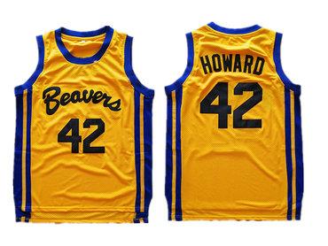 Teen Wolf Beavers 42 Scott Howard Gold Stitched Movie Jersey