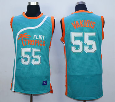 Flint Tropics 55 Vakidis Teal Semi Pro Movie Stitched Basketball Jersey
