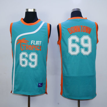 Flint Tropics 69 Downtown Teal Semi Pro Movie Stitched Basketball Jersey