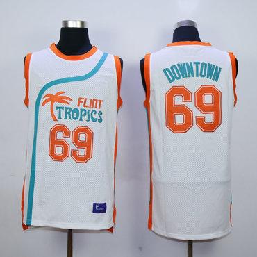 Flint Tropics 69 Downtown White Semi Pro Movie Stitched Basketball Jersey