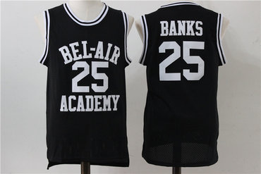Bel-Air Academy 25 Banks Black Stitched Basketball Jersey
