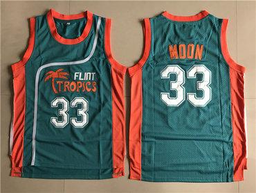 Flint Tropics 33 Jackie Moon Teal Semi Pro Movie Stitched Basketball Jersey