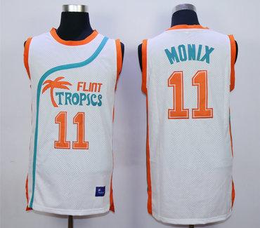 Flint Tropics 11 Ed Monix White Semi Pro Movie Stitched Basketball Jersey