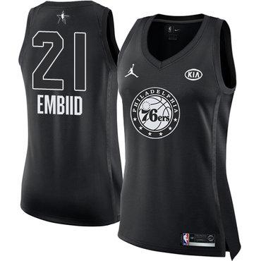 Nike Philadelphia 76ers #21 Joel Embiid Black Women's NBA Jordan Swingman 2018 All-Star Game Jersey