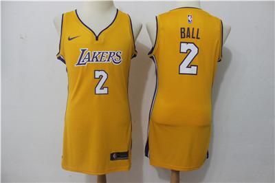 Nike Los Angeles Lakers #2 Lonzo Ball Yellow Women Swingman Jersey