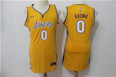 Nike Los Angeles Lakers #0 Kyle Kuzma Yellow Women Swingman Jersey