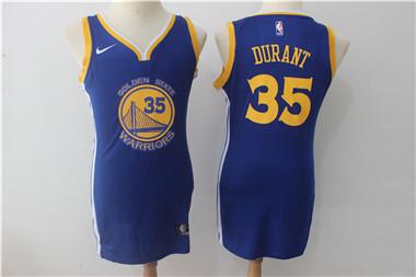 Nike Golden State Warriors #35 Kevin Durant Blue Women Swingman Jersey
