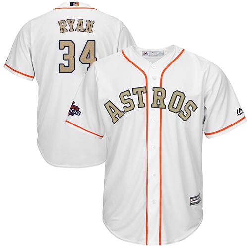 Houston Astros #34 Nolan Ryan White 2018 Gold Program Cool Base Stitched MLB Jersey
