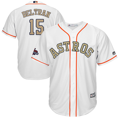 Houston Astros #15 Carlos Beltran White 2018 Gold Program Cool Base Stitched MLB Jersey