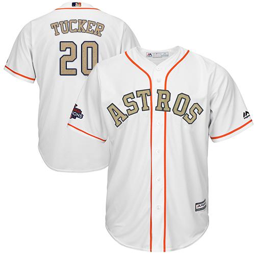 Houston Astros #20 Preston Tucker White 2018 Gold Program Cool Base Stitched MLB Jersey
