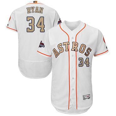 Houston Astros #34 Nolan Ryan White FlexBase Authentic 2018 Gold Program Cool Base Stitched MLB Jersey