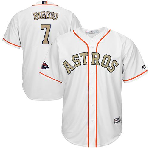 Houston Astros #7 Craig Biggio White 2018 Gold Program Cool Base Stitched MLB Jersey