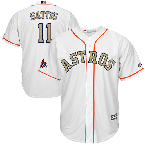 Houston Astros #11 Evan Gattis White 2018 Gold Program Cool Base Stitched MLB Jersey