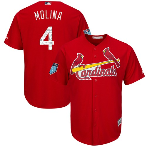 St. Louis Cardinals #4 Yadier Molina Red 2018 Spring Training Cool Base Stitched MLB Jersey