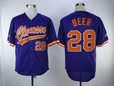 Clemson Tigers #28 Seth Beer Purple College Baseball Jersey