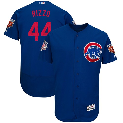 Chicago Cubs #44 Anthony Rizzo Blue 2018 Spring Training Authentic Flex Base Stitched MLB Jersey