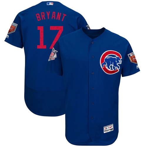 Chicago Cubs #17 Kris Bryant Blue 2018 Spring Training Authentic Flex Base Stitched MLB Jersey