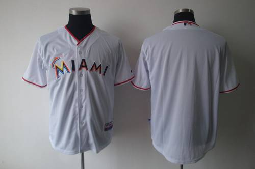 Miami marlins Blank White 2018 Home Stitched MLB Jersey