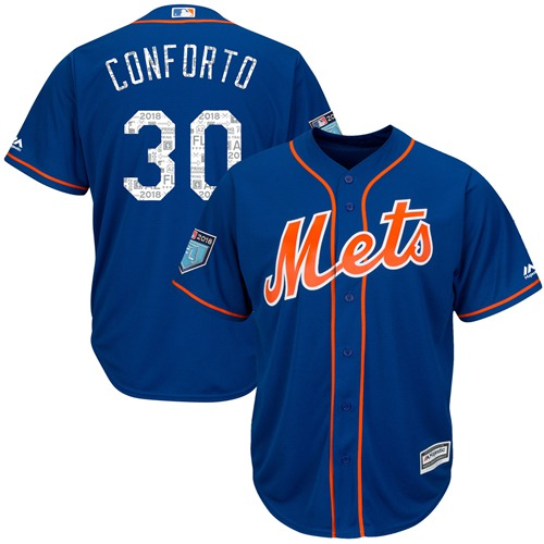 New York Mets #30 Michael Conforto Blue 2018 Spring Training Cool Base Stitched MLB Jersey
