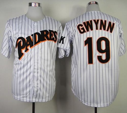 Mitchell and Ness San Diego Padres #19 Tony Gwynn White(Blue strip) Stitched Throwback MLB Jersey