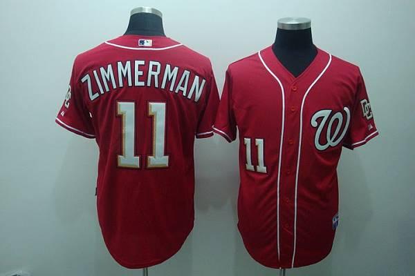 Washington Nationals #11 Zimmerman Ryan Red Stitched MLB Jersey