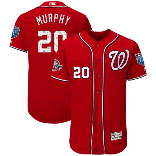 Washington Nationals #20 Daniel Murphy Red 2018 Spring Training Authentic Flex Base Stitched MLB Jersey