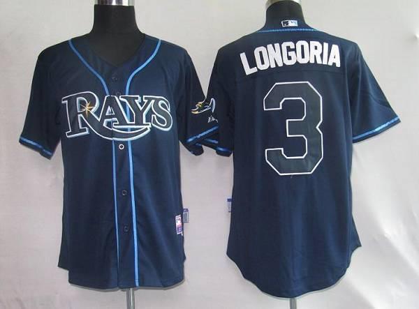 Tampa Bay Rays #3 Evan Longoria Dark Blue Stitched MLB Jersey