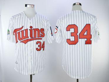 Minnesota Twins #34 Kirby Puckett Cream Strip Cool Base Stitched MLB Jersey