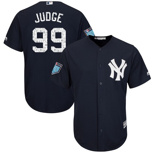New York Yankees #99 Aaron Judge Navy Blue 2018 Spring Training Cool Base Stitched MLB Jersey