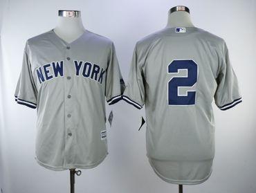 New York Yankees #2 Derek Jeter Gray Cool Base Jersey