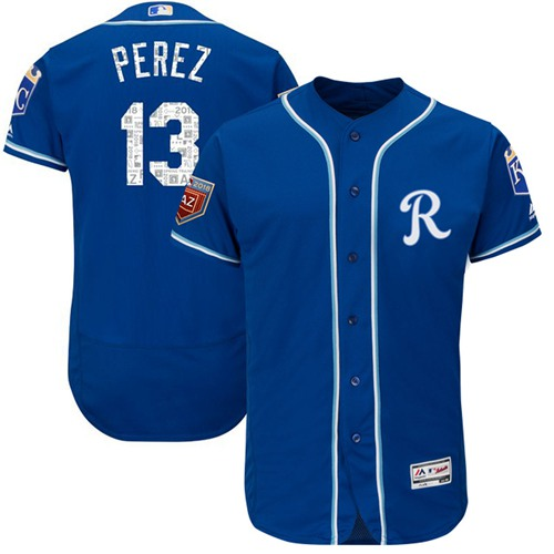 Kansas City Royals #13 Salvador Perez Royal Blue 2018 Spring Training Authentic Flex Base Stitched MLB Jersey