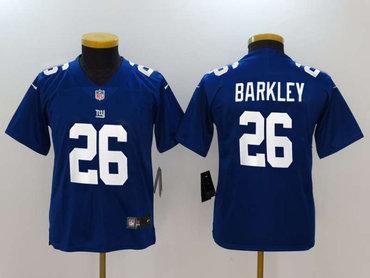 Nike New York Giants #26 Saquon Barkley Royal Youth 2018 NFL Draft Pick Limited Jersey