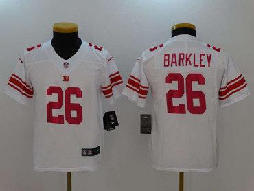 Nike New York Giants #26 Saquon Barkley White Youth 2018 NFL Draft Pick Limited Jersey