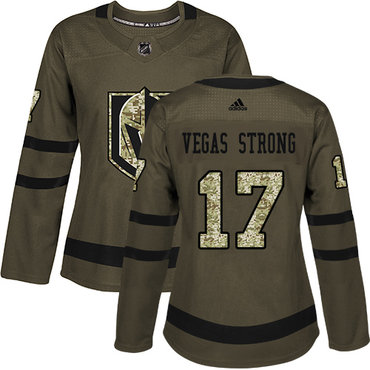 Adidas Vegas Golden Knights #17 Vegas Strong Green Salute to Service Women's Stitched NHL Jersey