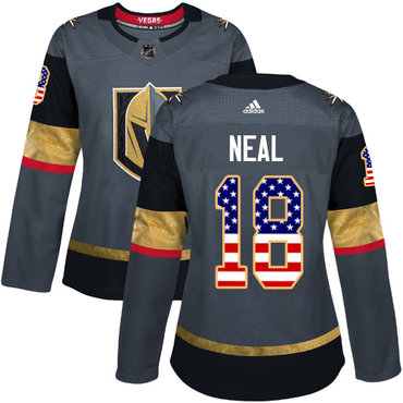 Adidas Vegas Golden Knights #18 James Neal Grey Home Authentic USA Flag Women's Stitched NHL Jersey
