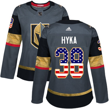 Adidas Vegas Golden Knights #38 Tomas Hyka Grey Home Authentic USA Flag Women's Stitched NHL Jersey