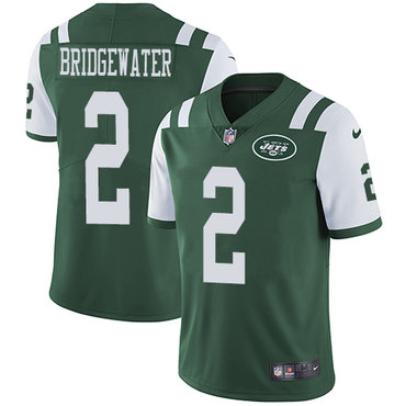 Nike New York Jets #2 Teddy Bridgewater Green Team Color Men's Stitched NFL Vapor Untouchable Limited Jersey