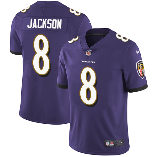 Nike Baltimore Ravens #8 Lamar Jackson Purple Team Color Men's Stitched NFL Vapor Untouchable Limited Jersey